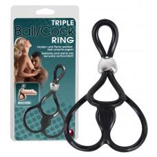 Tripla, állítható pénisz- és heregyűrű (fekete)