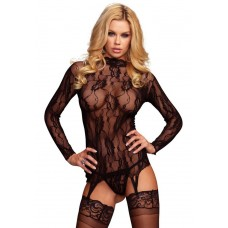 Lace Garter Top And G-String - BLACK - O/S - LINGERIE
